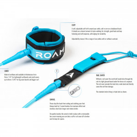 ROAM Surfboard Leash Premium 9.0 Knie 7mm Blau